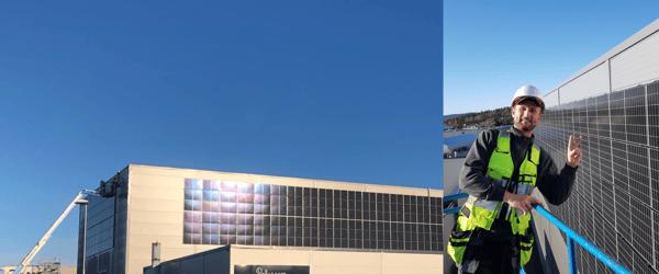 Solceller monteres i fasade og er flott å se på